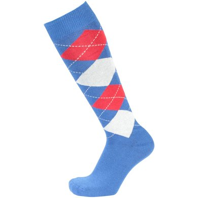 Pfiff Checked Riding Socks Blue/white/red