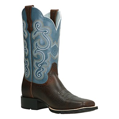 Ariat Western Quickdraw B Brown Oiled Rowdy Sapphire Blue