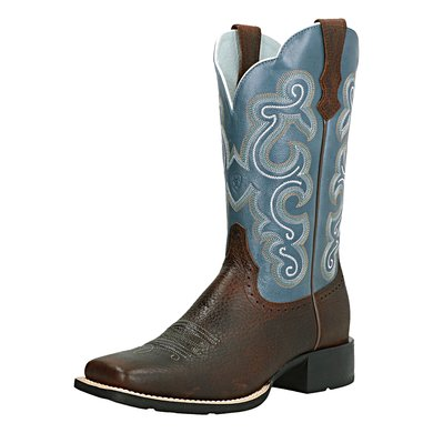 Ariat Western Quickdraw B Brown Oiled Rowdy/Sapphire Blue 38