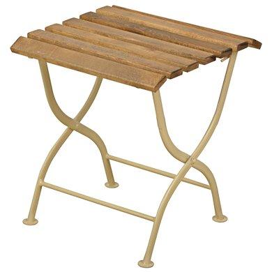 Esschert Opklapbijzettafel hout/metaal/creme 38x38x44cm
