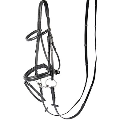Harrys Horse Bridle Luxury Flash Noseband Black