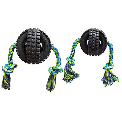 Pet Qwerks Jingle X-tire Ball W/ single Rope