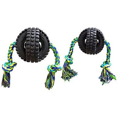Pet Qwerks Jingle X-tire Ball W/ single Rope