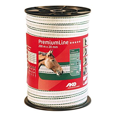 Ako Lint Premiumline wit-groen 20mm 200mtr.