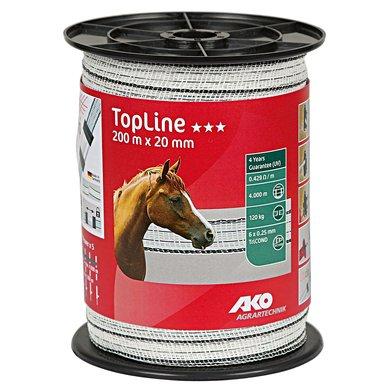 Ako TopLine Afrasteringslint 200m Wit/zwart 20mm