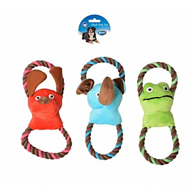 Duvo+ Dogtoy Plush Animal Double Ring Blauw/groen 27,5x10cm