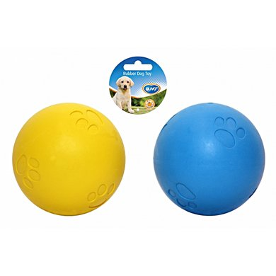 Duvo+ Dogtoy Rubber Squeaky Ball Soft Blauw/geel 5cm