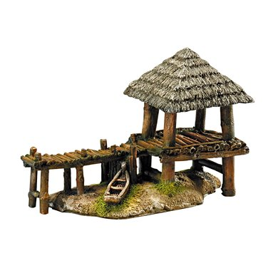 Aqua Della Aquarium Ornament Wharf-house 29.5x14x19.5cm