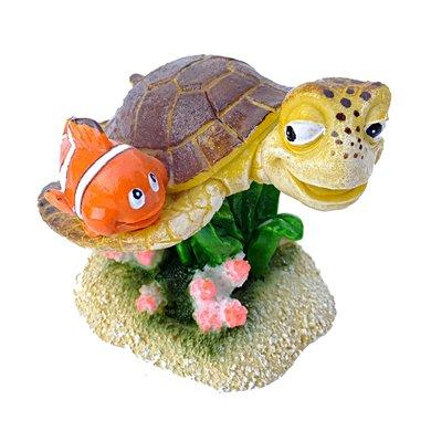 Aqua D Ella Clownvis Met Schildpad Oranje/bruin 8,5x8x7cm