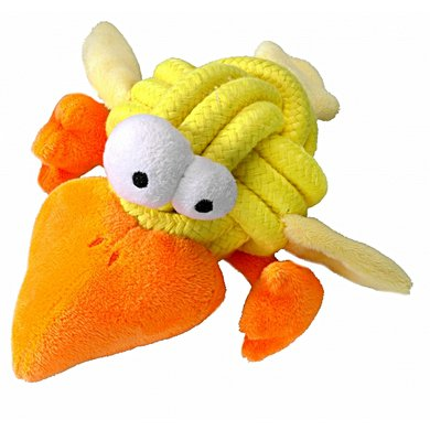 Coockoo Dog Toy Bobble Regular, Knot-plush Geel 8cm