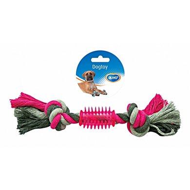 Duvo+ Dogtoy Knoop Katoen 2 Knoop Rubber Grijs/roze 28cm