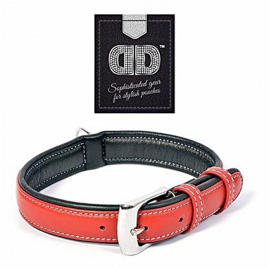 Duvo+ Comfy Leder Halsband Rood/Zwart