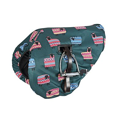 Shires Saddle Cover Waterproof Ride On Green Sheep Print