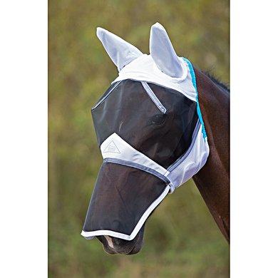 Shires Vliegenmasker Dun Net met Oren en Neus Verlenging White