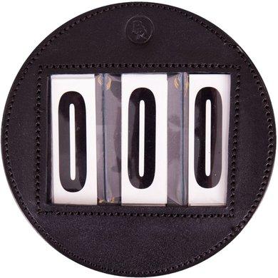 BR Numéros de Dossards Rond Cuir Noir 11cm
