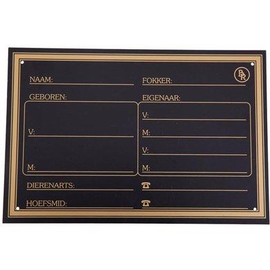 BR Stalplaat Kunststof Goud Opdruk Zwart 30x20cm