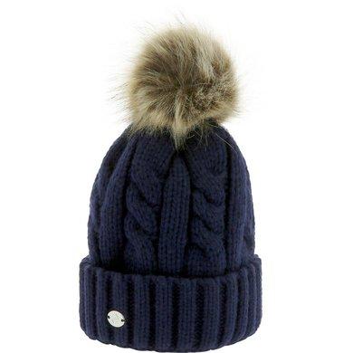 Equithème Pom-Pom Hat Torsades Marine Blauw One Size