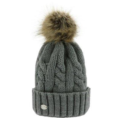 Equithème Pom-Pom Hat Torsades Licht Grijs One Size