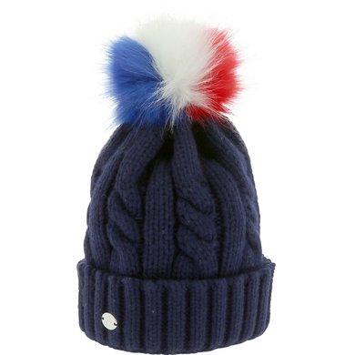 2e69711a5fed2 EquiThème Bonnet à Pompon Torsades Marine bleu/rouge/blanc