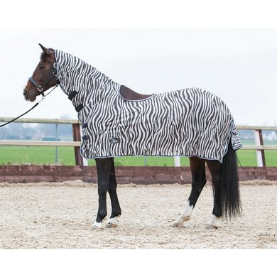 Harrys Horse Flysheet Neck Saddle Cutout Zebra 145/195