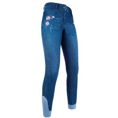 spottbillig online zu verkaufen neue Kollektion HKM Reithose Flower Denim Silikon Vollbesatz Jeans Blau