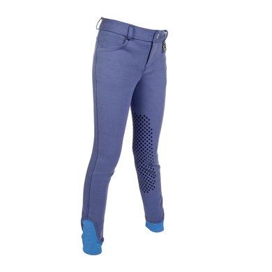 Hkm Rijbroek Kids Easy Silicoon Knievlakken Jeansblauw 164