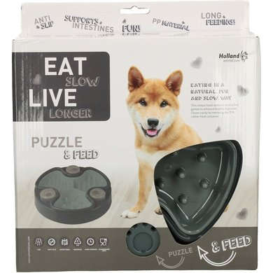 Eat Slow Live Longer Puzzle and Feed Grey 23,5cm