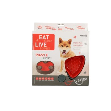 Eat Slow Live Longer Puzzle and Feed Red 23,5cm