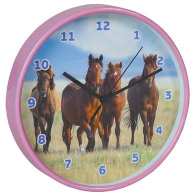 Red Horse Wandklok Paarden Weidemaatjes