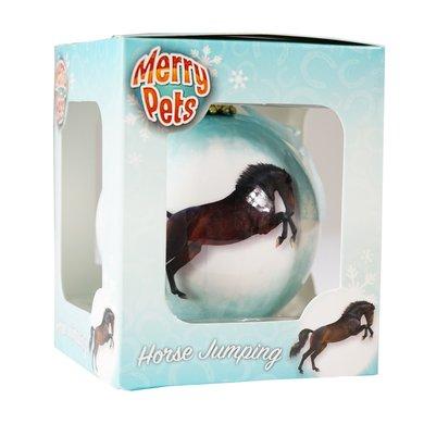 Red Horse Kerstbal met Paard Iceblue