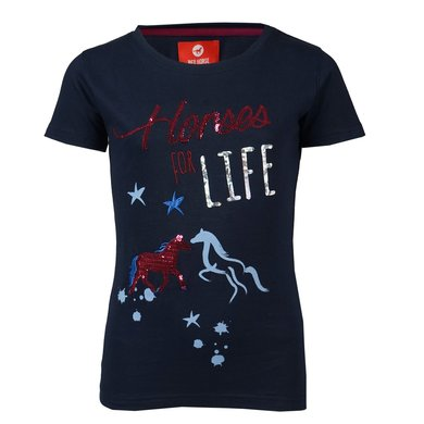 Red Horse T-Shirt met Print Navy
