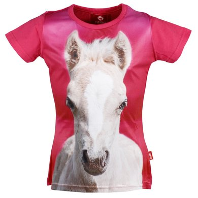Red Horse T-shirt Horsy Hot Pink
