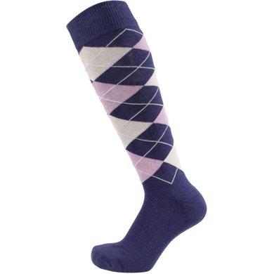 Pfiff Checked Riding Socks Blue/Lilac