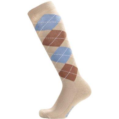 Pfiff Checked Riding Socks Beige-light blue