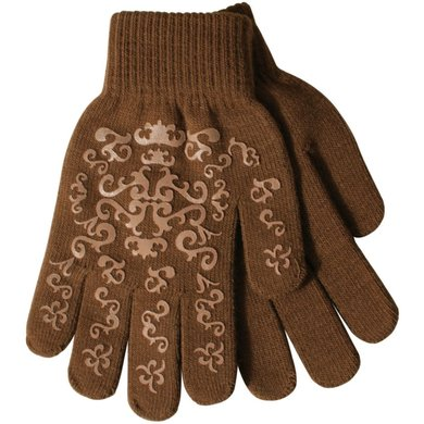 Pfiff Elasticated Gloves Print Brown Beige