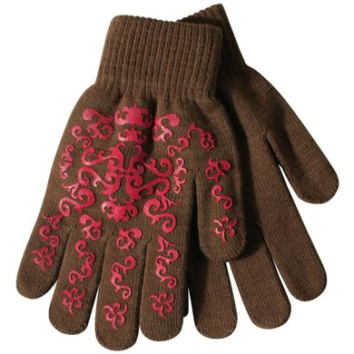 Pfiff Elasticated Gloves Print Brown Pink