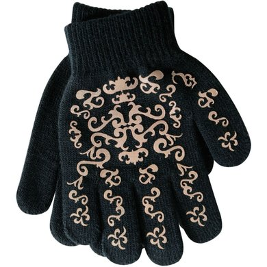 Pfiff Elasticated Gloves Print Black Brown