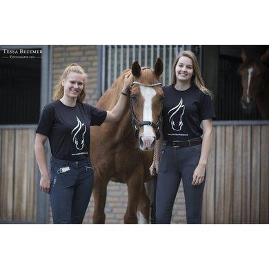 Paard Zoekt Baas T-Shirt met Wit Logo Zwart