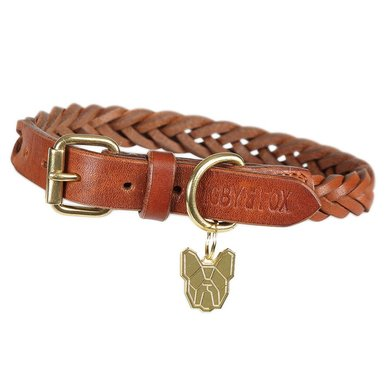 Digby & Fox by Shires Halsband Gevlochten Leder Tan