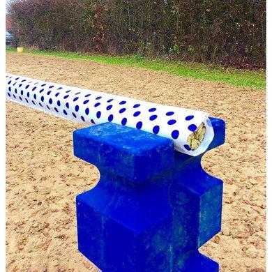 Jumpstack Hoes voor Springbalk White/Blue Spots