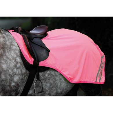 Shires Uitrijdeken met uitsparing Equi Fluor roze M