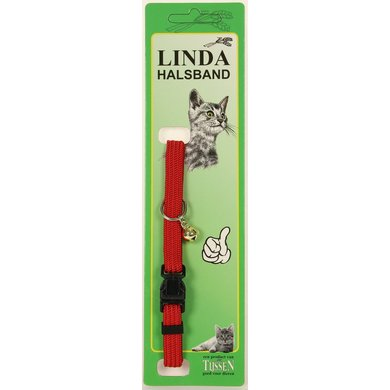 Linda Poezenbandje nylon met bel Rood 10mm x 30cm