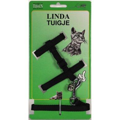 Linda Lijn & Poezentuigje verstelbaar Zwart 10mm x 30/100cm