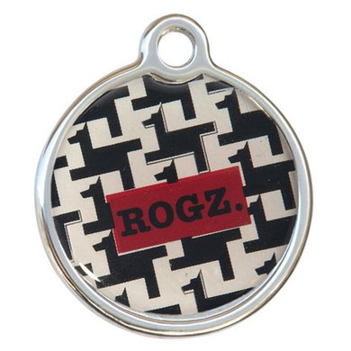Rogz ID Tag Metal Hound Dog Black S