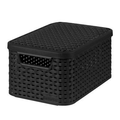 curver korb mit deckel rattan style grau s. Black Bedroom Furniture Sets. Home Design Ideas