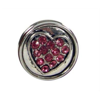 Button Zilver Kleur Met Roze Strass Hart Diam 1.5cm