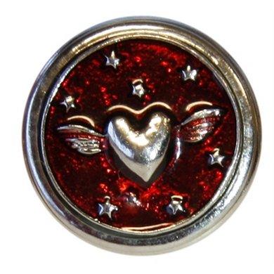 Button Rood Met Hart Zilver Kleur Diam 1.5cm