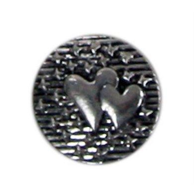 Button Hartjes Zilver Kleur Diam 1.5cm