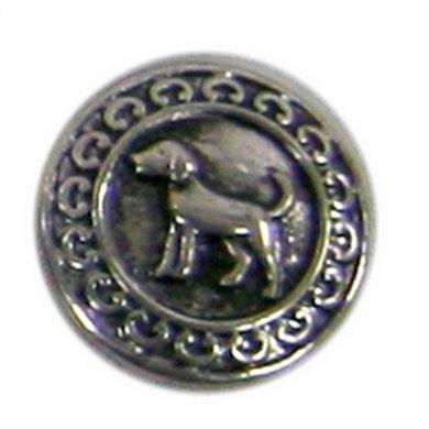 Button Met Hond Zilver Kleur Diam 1.5cm