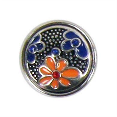 Button Zilver Kleur Met Roze En Blauwe Bloemen Diam 1.5cm